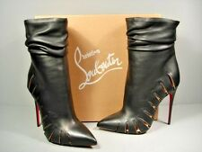 Louboutin Fontabooty black laser cut out leather ankle boots booties 38.5/8 New