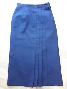 VintageNavy Blue High Waist Kick Pleat Long Secretary Wiggle Skirt UK 8 10 (b24)