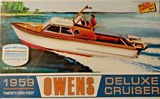 New Lindberg 1959 Owens Outboard Cruiser Boat Plastic Model Ship Kit 1/25 Scale