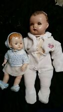 Lot of 2 Vintage 1920's 1930's Creepy Ideal Dolls- One Small One Larger