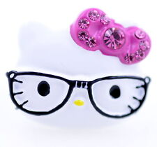 cute cat with glasses and a sparkly pink bow ring. Adjustable size