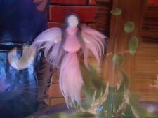 ooak needle felted Fairy waldorf angel wings inspired pink white Handmade wool
