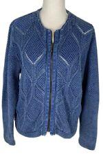 Blue Willi's Danish zippered cardigan sweater Blue. Knit and Denim. Sz  M Lad