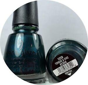 China Glaze Nail Polish Tongue & Chic 1229 Dark Blue-Green Metallic Shimmer