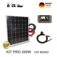 Panel Solar Monocristalino KIT 200W 12V Placa Autocaravana Caravana Barco