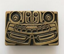 Vtg Bronze Haida Bear Belt Buckle Native American Totem Pole Northwest Art Claw