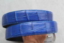 Luxury Bright Blue Genuine Alligator, Crocodile Belly Leather Skin Men's Belt