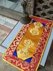 "TIBETAN BUDDHIST SHIMMERY BROCADE ALTAR CLOTH 9"" X 17"" DOUBLE DORJE MOTIF NEPAL"