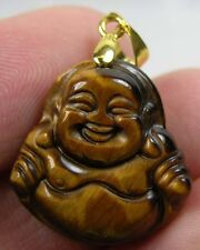 #4 Tiger Eye Tigereye Hand Carved Smiling Happy Buddha Pendant 21.30ct or 4.25g