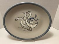 "Louisville Stoneware Gaggle Of Geese 12 5/8"" x 10 1/4"" Oval Serving Plate Goose"