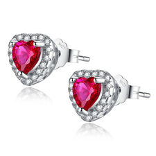 1.0 CTW Heart Cut Created Ruby 925 Sterling Silver Stud Earrings Gifts for Her