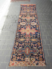 Antique Caucasian runner Rug Carpet wool Hand Made 306x76-cm /120.4x29.9-inches