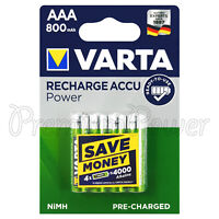 4 x Varta AAA 800mAh batteries Rechargeable Ni-MH 1.2V HR03 MIcro 56703 Accu