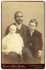 Rare African American Black Man & White Children Cabinet Card Photo California