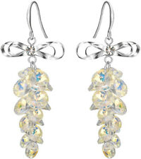 Dangle Earrings Clear Ab Crystal Women Silver-Tone Sweet Bowknot Multi-Bead Hook