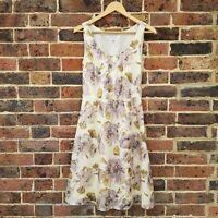 L.K. Bennett 100% Silk Dress Size 8 Floral Fit & Flare Tea Dress Yellow Purple