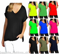 Ladies Women Plus Size Short Sleeve Plain SCOOP NECK Baggy Top T-Shirt 20-26