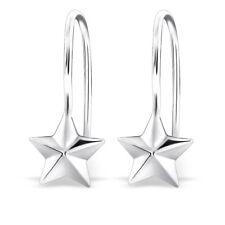 925 Sterling Silver Star Drop/Dangle Earrings