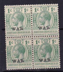 BRITSH HONDURAS 1916 WAR OVERPRINT ON 1c BLOCK OF 4 MINT NEVER HINGED SG114 X 4