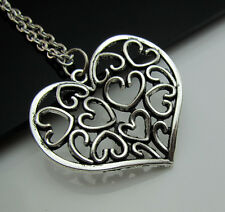 Free Tibetan Silver Charm Hollow Totem Love Heart Lucky Pendant chain Necklace