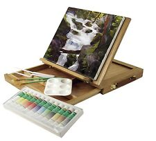 Wood Table Easel Acrylic Paint Set Art Supplies Artist Painting Portable Kit New