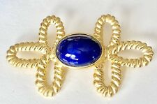 Cabochon Twist Rope Brooch Pin Vintage Gold Tone Cobalt Blue