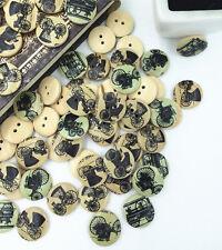 20Pcs Bulk Retro Bubble Car Wooden Sewing Buttons Scrapbooking 2 Holes 20mm