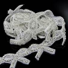 1 Yard Crystal Rhinestone Trim Iron On Beaded Bridal Dress Applique Craft DIY