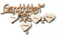Wooden MDF Grandchildren Branch Family Tree Shape with Personalised Hearts