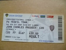 Ticket- 2007 LEEDS UNITED v YEOVIL TOWN, 6 Oct, League One