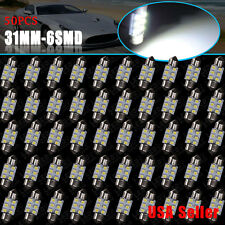 50X Super White 31mm Festoon Interior Dome Map LED Bulb 3528 6SMD DE3175 DE3022