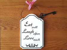 NEW BLACK & WHITE EAT WELL LAUGH OFTEN LOVE MUCH METAL SIGN PLAQUE