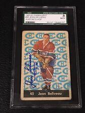 HOF JEAN BELIVEAU 1961-62 PARKHURST SIGNED AUTOGRAPHED CARD #45 SGC AUTHENTIC