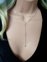 925 Sterling Silver crystal clearHerkimer Diamond quartz  lariat Y necklace gift