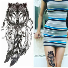 Temporary Tattoo Decal Waterproof Wolf Feather Body Arm Art Transfer Stickers
