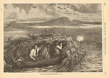 Hunters, Shooting From Duck Blind, Boat, Vintage 1875 German Antique Art Print