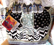 """NWT Laurel Burch Vibrant Colored Canvas """"Cat Ears"""" Zip Close Spring Handbag , M"""