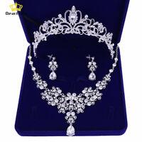 Deartiara Crystal Wedding Jewelry Set Bridal Tiara Crown Necklace Earrings