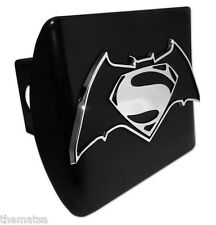 SUPERMAN S BATMAN EMBLEM ON BLACK METAL USA MADE TRAILER HITCH COVER