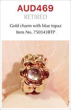 GENUINE PANDORA 14K GOLD CHARM With BLUE TOPAZ, 750343BTP