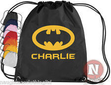 Personalised Drawstring Bag BATMAN School Gym PE Kit Sport add child's name