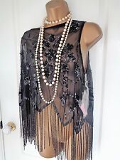 BNWT Boutique beaded shawl top 1920's 30's style UK 12 EU 40 US 8 Great Gatsby