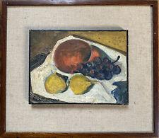 Ecole Paris Espagne Cubisme Nature Morte Fruits Huile sign Diamantino 1912-1961