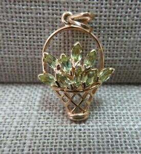 14k Solid Yellow Gold Peridot Flower Basket Floral Charm Pendant 2.23 Grams