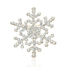 Wedding Bridal Brooch Pin Crystal Rhinestone Large Snowflake Winter snow Theme