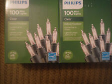 NEW LOT 2 Pkgs Philips 100 Each Clear Mini Lights Indoor/Outdoor
