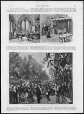 1888 Antique Print - GERMANY Berlin Emperor William Study Bedroom Campaign (278)