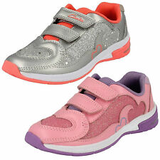162beed3837 Girls Clarks Piper Chat Inf Silver Or Pink Leather Riptape Trainers With  Lights