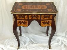 Vintage French Small Mahogany Marquetry Escritoire Bronze Ormolu Office Desk