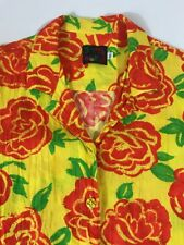 Jams World Women's XL Button Island Roses Floral Hawaiian Shirt Rayon Yellow